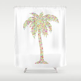 Palm Tree Floral Watercolor Shower Curtain