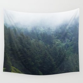 Oregon forest, foggy forest, oregon coast, green forest, nature, moody forest, moody landscape Wall Tapestry