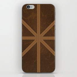 Digitial Faux Brown Leather and Union Jack Cross Design iPhone Skin