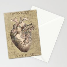 adventure heart-world map 3 Stationery Cards