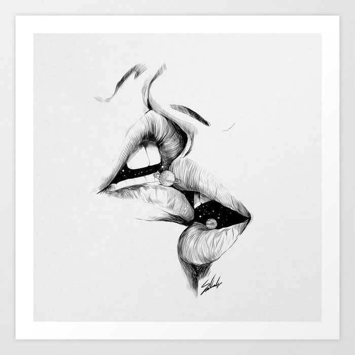 Universe kiss. Kunstdrucke