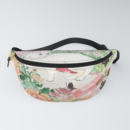 White Cat in a Garden Fanny Pack