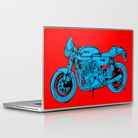 cafe racer Laptop & iPad Skins featuring Norton Commando 961 Cafe Racer LOST TIME by Larsson Stevensem