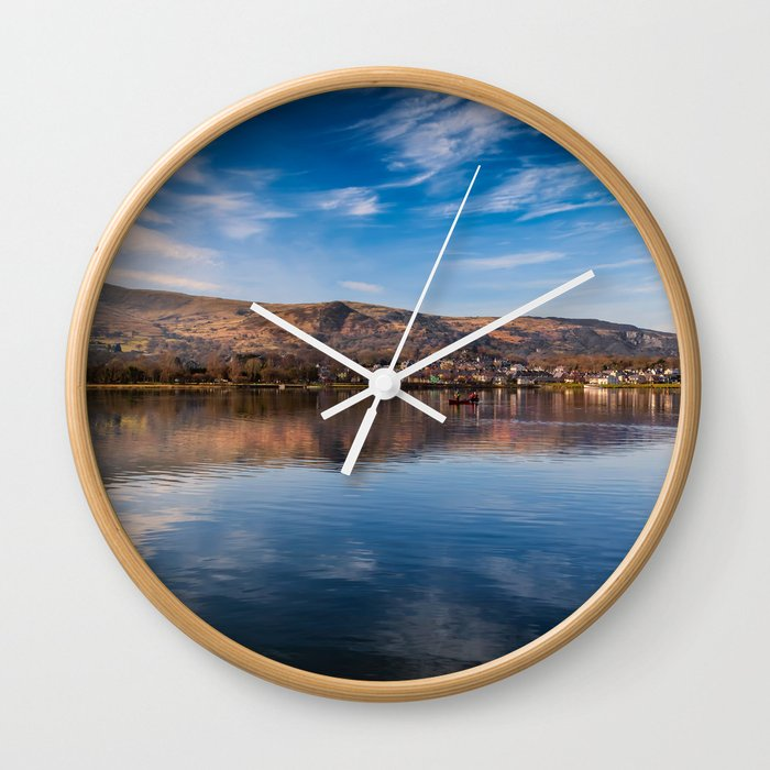 Llanberis Lake Reflections Wall Clock