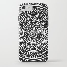 Black and White Simple Simplistic Mandala Design Ethnic Tribal Pattern iPhone Case