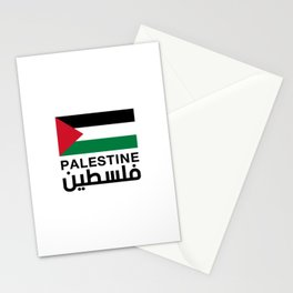 palestine flag with the word in arabic and english Stationery Cards