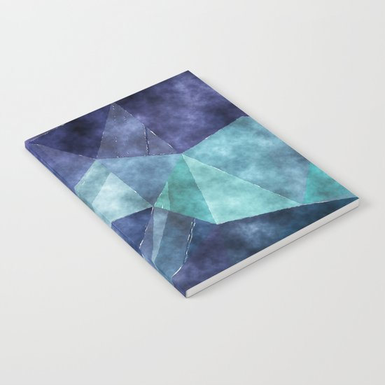 The deep blue sea- Watercolor triangles pattern in blue colors Notebook