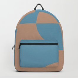 Brown Mid Tone Blue Minimal Half Circle Design 2021 Color of the Year Canyon Dusk & Yacht Blue Backpack