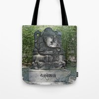 ganesha Tote Bags featuring Ganesha by Lucia