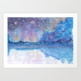 Watercolor Blue Island Art Print