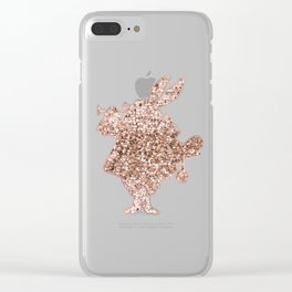 Sparkling rose gold Mr Rabbit Clear iPhone Case
