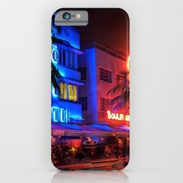 South Beach Miami Portrait in Colorful Time Lapse Paint by Jeanpaul Ferro iPhone Case