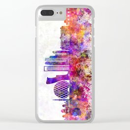 Abu Dhabi V2 skyline in watercolor background Clear iPhone Case