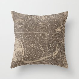 Vintage Map of Rome Italy (1730) Throw Pillow