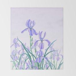purple iris watercolor Throw Blanket