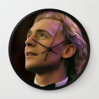 tom hiddleston Wall Clocks featuring Tom Hiddleston by Wisp Wool