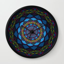 Blue Circular Ornament Wall Clock