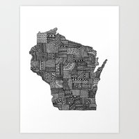 wisconsin Art Prints featuring Wisconsin by Lindsay MKE