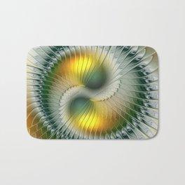 Like Yin and Yang, Abstract Fractal Art Bath Mat