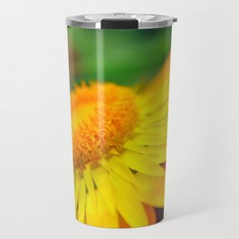 Yellow and Red Flower Macro Phot Travel Mug