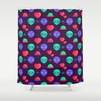 aliens Shower Curtains featuring Kawaii Aliens by badOdds