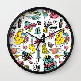 Weirdo Pizza Donut Sword Skull Pattern Wall Clock