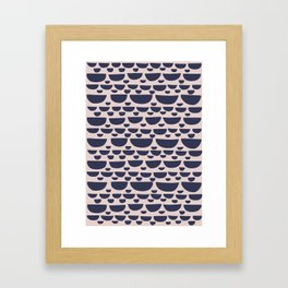 Half moon horizontal geometric print - Navy Framed Art Print