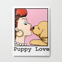 Puppy Love Comic Girl Pop Art Metal Print