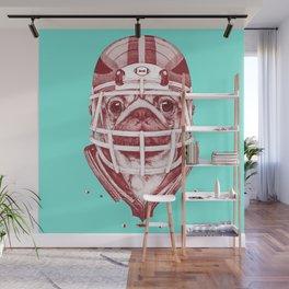 American Pug Football Red Wall Mural