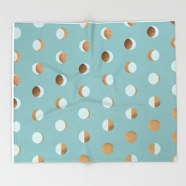 The Lunar Cycle • Phases of the Moon – Copper & Robin's Egg Blue Palette Throw Blanket