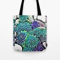 succulents Tote Bags featuring succulents by Sara Eshak