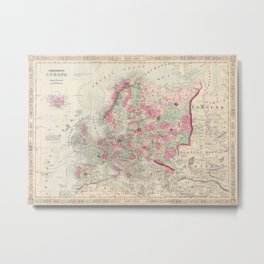 Vintage Map of Europe (1864) Metal Print