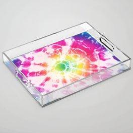 Tie-Dye Sunburst Rainbow Acrylic Tray
