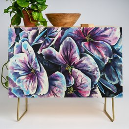 purple flowers watercolor art Credenza