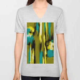 blue yellow black and white painting abstract with green background Unisex V-Neck
