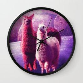 Crazy Funny Rainbow Llama In Space Wall Clock
