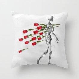 Skeleton&Roses Throw Pillow