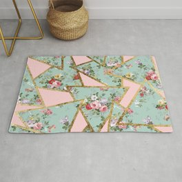 Modern abstract gold pink green floral triangles Rug