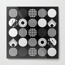 Ecelctic Geometric 2 - Black and white multi patterned design Metal Print