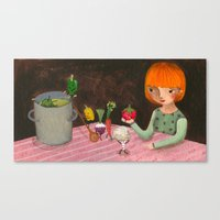 cooking Canvas Prints featuring Cooking by Valeria Cis