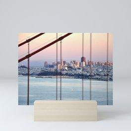 SAN FRANCISCO & GOLDEN GATE BRIDGE AT SUNSET Mini Art Print