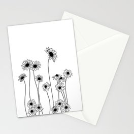 Minimal line drawing of daisy flowers Stationery Cards