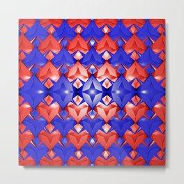 Red white blue star pattern Metal Print