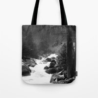 archan nair Tote Bags featuring Whiteout Yosemite-2 by Deepti Munshaw