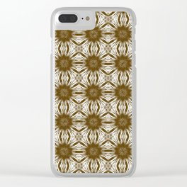 Brown Floral Abstract Clear iPhone Case