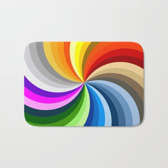 Rainbow Swirl Multi-Coloured Circle Design Bath Mat