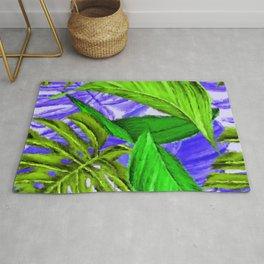 Saletta Home Decor Bright Green, Purple, Large Leaves in Lush Jungle  Rug