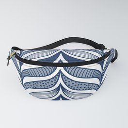 Abstract Whale Fins - Modern Waves Blue Fanny Pack