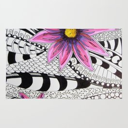Zentangle Flowers Rug