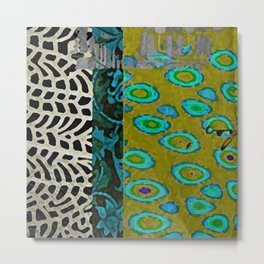 Teal & Olive Abstract Art Collage Metal Print